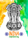 Lion capital of Ashoka in Indian flag color. Emblem of India. Royalty Free Stock Photo