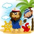 Lion captain and monkey sailor vector illustration Stock Photo