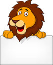 Lion cartoon with blank sign Royalty Free Stock Photo