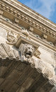 Lion on Chain Bridge in Budapest, Hungary Royalty Free Stock Photo