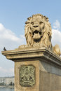 Lion of Chain Bridge in Budapest, Hungary Royalty Free Stock Photo
