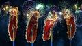 Lion dance in bangkok chinatown lunar new year Stock Photography