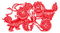 Lion dance china folk paper cut new year s Royalty Free Stock Images