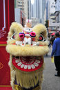 Lion dance is a form of traditional in chinese and indonesian cultures in which performers mimic a s movements in a Stock Photography