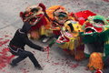Lion dancing and dragon dancing in rural China Stock Photo