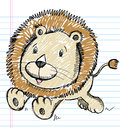 Lion Doodle Sketch Color Stock Images