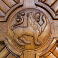 Lion door Royalty Free Stock Photo