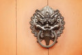 Lion door knob close up Royalty Free Stock Photos