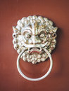 Lion door knocker Chinese style Vintage symbol object Royalty Free Stock Photo