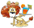 Lion with Drink Royalty Free Stock Photo