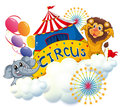 A lion and an elephant near the circus signage illustration of on white background Stock Image
