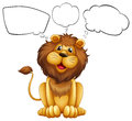 A lion with empty bubble notes Royalty Free Stock Photo