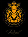 Lion face, lion head with the crown in the circle, logo
