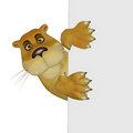 Lion female with a blank frame isolated on the white background Royalty Free Stock Images