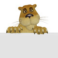 Lion female with a blank frame isolated on the white background Royalty Free Stock Photography