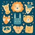 Lion, giraffe, deer, fox, bear, rabbit, panda, cat and dog characters in childish style
