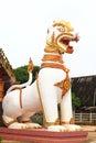 Lion guard statues in thai temple sangklaburi kanchanaburi thailand Royalty Free Stock Photo