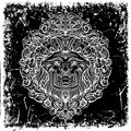 Lion Head with abstract ornament on grunge background. Royalty Free Stock Photo