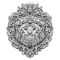 Lion Head with abstract ornament. Vintage tattoo art design, card, print, t-shirt, postcard, poster. Royalty Free Stock Photo