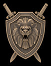 Lion head blazon artistic sculpture of a on the shield with the crossed swords isolated on black background d rendered image Royalty Free Stock Photos