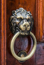 Lion head brass door knocker Stock Photos