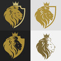 Lion head with crown logo Royalty Free Stock Photo