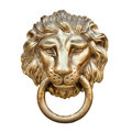 Lion head door knocker isolated on white Stock Image
