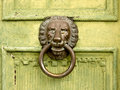 Lion head door knocker on a wooden Stock Images