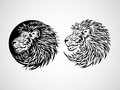 Lion head emblem tribal tattoo illustration Royalty Free Stock Images