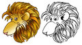 Lion head happy cartoon in colors and black and white vector Royalty Free Stock Photos