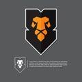 Lion head logo in flat design. Minimal logo on gray background.