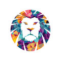Lion head  logo template creative illustration Animal wild cat face graphic sign Pride strong power Royalty Free Stock Photo