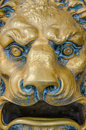 Lion head postal box mailbox shaped as a roaring with a fierce expression spanish with a vintage style Stock Photography