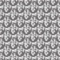 Lion head repeat seamless pattern in greyscale black and white Stock Photo