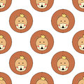 Lion Head Seamless Pattern. Cu...