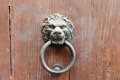 Lion head shaped old door handle with ring Royalty Free Stock Photo