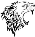 Lion head tattoo Stock Photos