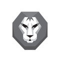 Lion head - vector logo sign concept illustration in flat style design in grayscale colors. Wild cat graphic art. Design element