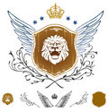 Lion Head Winged Insignia Royalty Free Stock Photography