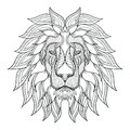 Lion head zentangle, doodle stylized, vector, illustration, hand Royalty Free Stock Photo