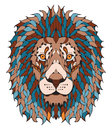 Lion head zentangle stylized, vector, illustration, freehand pen Royalty Free Stock Photo