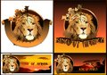 Lion king of africa vector color graphic image a with the inscription Stock Photos