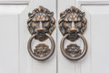 Lion knocker on white door