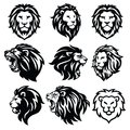 Lion Logo Set. Premium Design. Vector Illustration Royalty Free Stock Photo