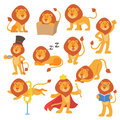 Lion mascot vector pose happy cartoon cute wild character safari mammal cat jungle animal illustration. Royalty Free Stock Photo