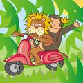Lion and a monkey on a bike riding moped in the jungle Royalty Free Stock Photos