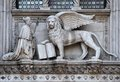 Lion monument in venice italy near san marco square Royalty Free Stock Photo