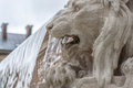 Lion monument water cascade and stone Royalty Free Stock Images