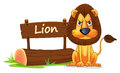 Lion and name plate illustration of on a white Royalty Free Stock Image