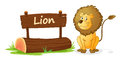 Lion and name plate illustration of on a white Stock Image